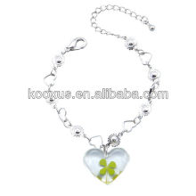 Four Leaf Clover Clear Heart Bracelet