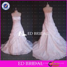 Real Sample Strapless Lace Appliqued Ruffle Vestidos de casamento de tafetá para mulher gorda