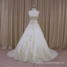 Laço francês decote recortado A linha de vestido de noiva