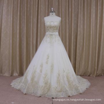 Vestido de novia con cuello en V francés escote palabra de honor