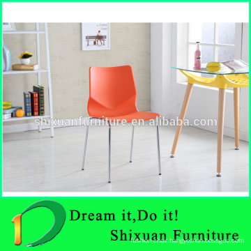PP seat stackable metal dining chair