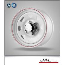 Roda de reboque em acabamento branco com vermelho Stripe aço rodas de carro
