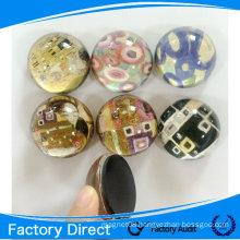 Round shape scystal 3d souvenir glass fridge magnet