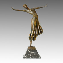 Танцор Бронзовый сад Скульптура Леди украшения ремесло латунная статуя TPE-165