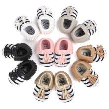 Mode Streifen Quasten Babyschuhe Infant Kleinkind Mokassins Weiche Sohle