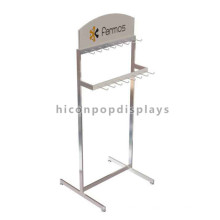 Merchandising Display Rack Retail Store Pavimentação Chromed Steel Metal Gancho Pendurado Tie and Belt Rack