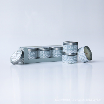 3*60g paraffin/soy wax scented candle in tin box as gift set