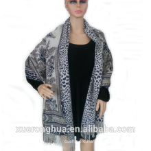 fine cashmere and wool blended woman digital printed double face shawl