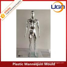 Molde de maniquí de plata de cromo de cuerpo completo masculino
