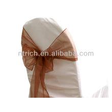 chocolate, chique moda cristal organza cadeira faixa gravata volta, laço, nó, tampa da cadeira casamento e toalha de mesa