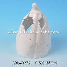 Einzigartiger weißer Porzellan Halloween Kürbis mit LED / Teelicht