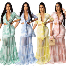 European and American Fashion Women Hot Style Striped Chiffon Print Ladies Slim Suit Skirt Evening Dress Skirt