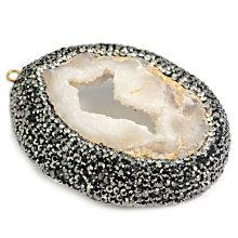 Semi Precious Stone Fashion Agate Crystal Slices Necklace Bejour Pendant