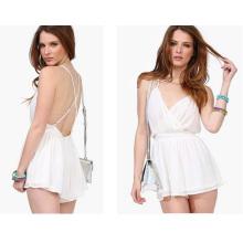 2015 Plus Size Moda Branco Backless Mulheres Chiffon Jumpsuit