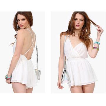 2015 Plus Size Fashion White Backless Frauen Chiffon Jumpsuit