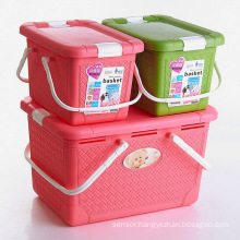 Plastic Storage Basket with Handle for Household Storage