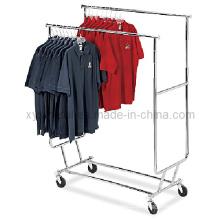 Trilhos de roupa de rolamento dupla dobráveis dobráveis dobráveis