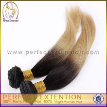 Venta caliente extensión virginal del pelo mezclada dos colores pelo brasileño