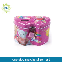 with lock save money /pig box in pink 2 heart shape