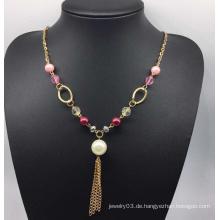 Bunte Perlen Perlen Pullover Halskette (XJW13760)