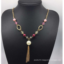 Colorful Beads Pearl Sweater Necklace (XJW13760)