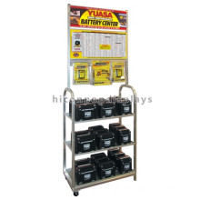 Quality Assured Metal Floor Standing 3-Tier Advertising Lead Acid Automotive Battery Display Rack