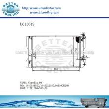 Radiador de aluminio para TOYOTA 08 Corolla 1640031520/1640022180 / 164100H260 Fabricante y Venta directa