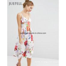 Vestido de mujer sexy estampado floral MIDI