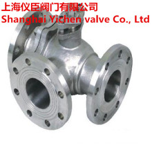 Stainless Steel CF8m Three Way Flanged Ball Valve