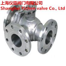 Aço inoxidável CF8m três maneira válvula de esfera flangeadas