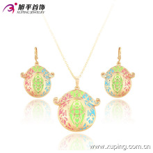 63591 cheap fashion jewelry made in china 18k delicate elegant earring and pendant gold plated women jewelry set
