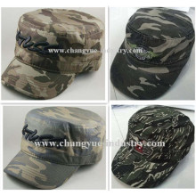 Camouflage cotton embroidery military cap with flat top