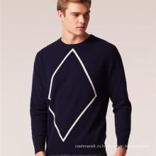 2017 мужчин шею аргайл шаблон кашемир вязаный пуловер свитер