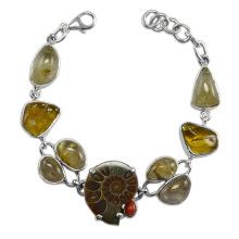 Amber Coral Rutilated cuarzo y amonita piedras preciosas con 925 pulsera de plata de ley
