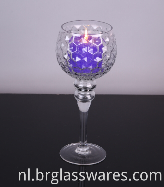 mouth blown glass hurricane candle holders