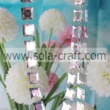 Square Bead Garland Cube Bead Chain 19MM Imitacja akrylu Crystal Diamond Strand Party Decoration Garland Wyczyść biały z R