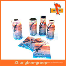 Para la calidad de plástico PET encogimiento de calor personalizada mangas impresas para las botellas de la empresa zhongbao