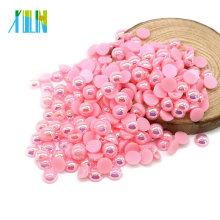 Haute qualité 10mm demi-coupe Flat Back Artisanat perles en vrac pour les accessoires vestimentaires, A8-Pink AB