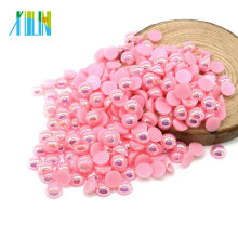 High Quality 10mm Half Cut Flat Back Craft Pearls in Bulk for Clothing Accessories , A8-Pink AB