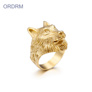 Lelaki Stainless Steel Viking Gold Wolf Ring