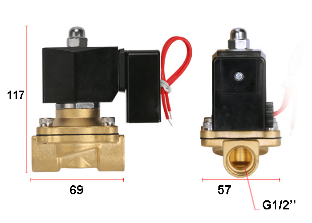 Appearance size chart of 2W160-15 soelnoid valves