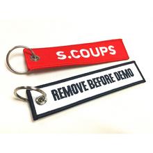 Anéis de chave de bordados personalizados de bordados de tecido tag