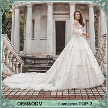 2017 Mais novo modelo bege weding vestido moda design latern mangas retrato pescoço casamento vestido