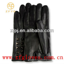 Elegant leather gloves with studs for ladies