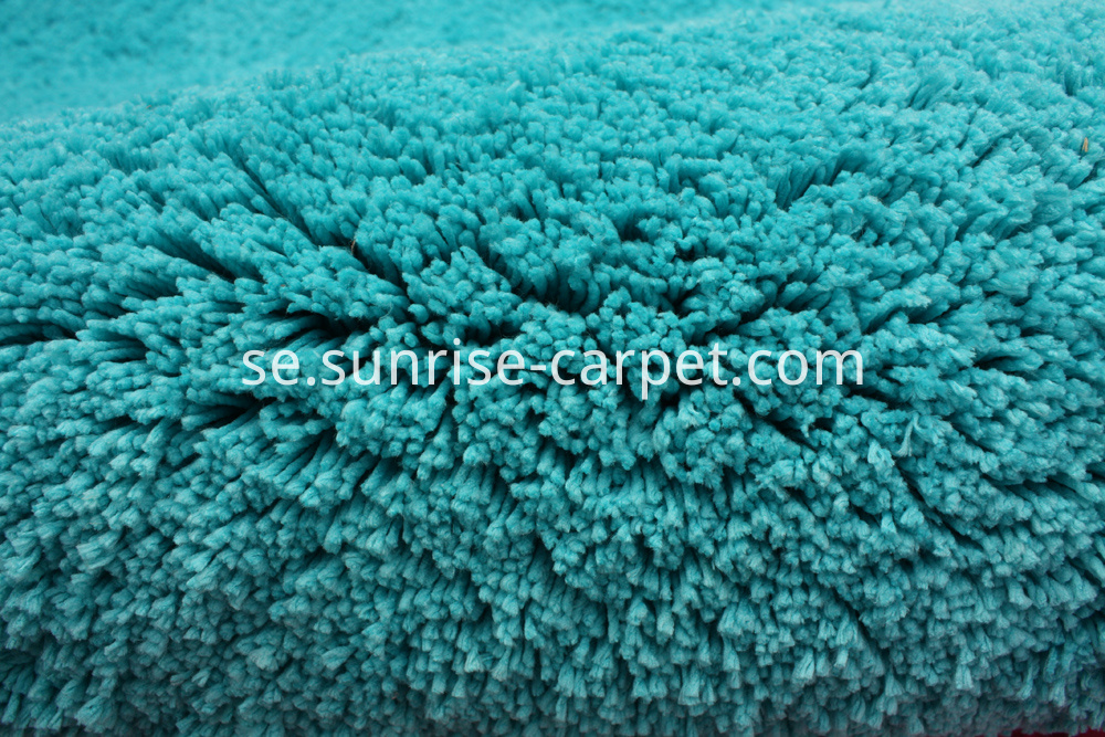 Microfiber soft shaggy with solid color turqoise