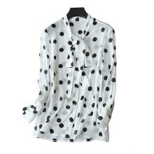 Women's 2017 new blouses 100% pure silk single breasted with bow tie round dot decor thin blouse