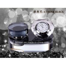 Kristall-Parfüm-Flasche mit herzförmigen Uhr