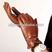 Charmants gants marron super en cuir pour femme en XXL