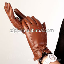charming brown super leather gloves for lady in XXL