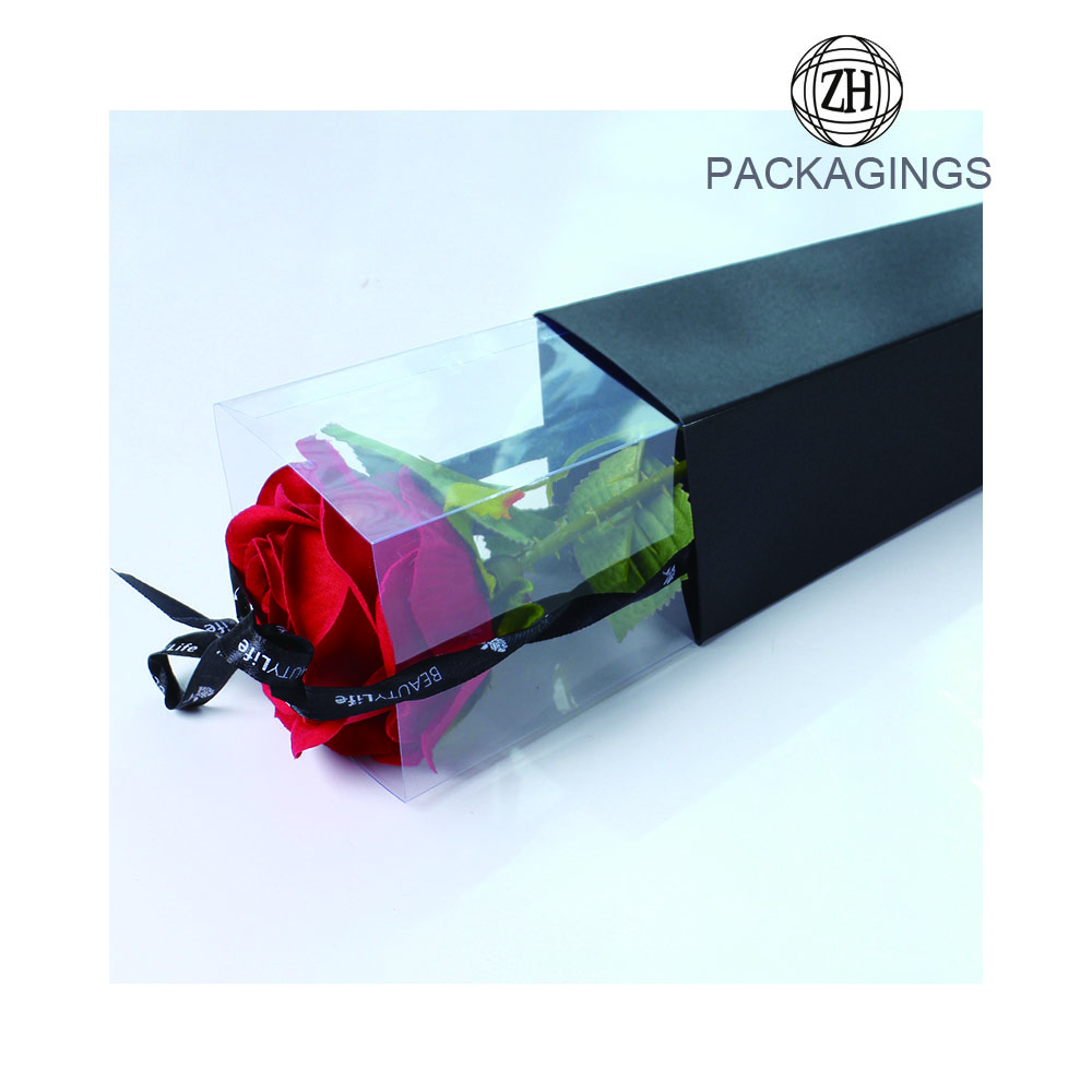 PVC lid single rose flower paper box